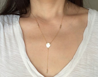 Beaded Gold Y Lariat Necklace also available in Silver and other Stones