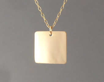 Gold Fill Square Pendant Necklace Long or Short