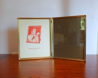 Vintage Gold Picture Frame  Double 8 x 10 Metal Frame Stand up Frame Mid Century Home Decor