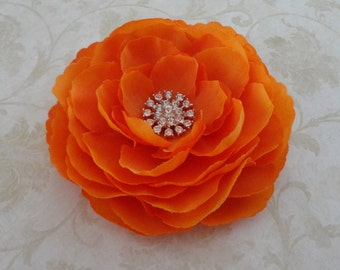Orange Flower Hair Clip - Orange Ranunculus Flower Brooch w/Rhinestone - Fascinator Hair Clip - Girls Hair Clip