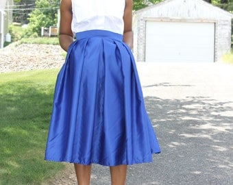 Blue Midi Skirt With Pockets-available in 12 colors