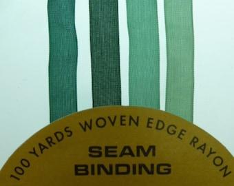 8 yards of shades of  green  hug snug  rayon seam binding /crinkle ribbon  2 yards of each color .