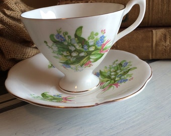 Vintage Tea Cup and Saucer Crownford English Bone China Lilly of The Valley Vintage Teacup and Saucer