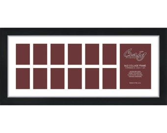 craig frames 9x22 inch black picture frame single white collage mat with 13 openings 500092201c29a