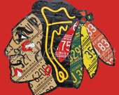 Chicago Blackhawks Illinois license plate art. PRINTED ON ALUMINUM. 2 sizes. Ready to hang. Ships Free.