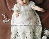 Vintage Crochet Pineapple stitch Christening dress Pattern PDF B082 from WonkyZebra
