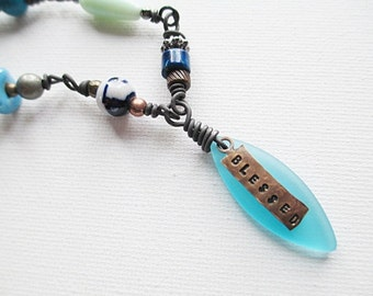 Blessed Stamped Necklace, Blue Sea Glass, Bead Necklace, Beaded Jewelry, Short, Bohemian, Multicolored, Recycled, Pendant Necklace