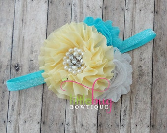 Summer Yellow - Aqua Blue - White Glitter Sparkle Headband Photography Prop for Newborns, Girls, Teens, Babies and Teens