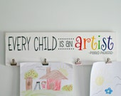 12x36 with 6 clips -- Every Child is an Artist Wooden Sign Children's Kid's Art Display with Clips
