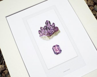 Amethyst Crystal Mineral Specimen & Polished Gem Study Archival Print on Watercolor Paper