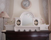 French Victorian style,shabby white painted,Hall mirror,shelf,coat rack console