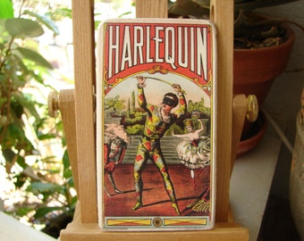 Vintage Harlequin, old style trading card image sealed onto wood,ballerina,theatre image