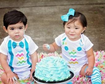 Boy Girl twin birthday outfit, boy girl twin outfit, boys first birthday set, First birthday outfit boy, first birthday outfit girl, outfit