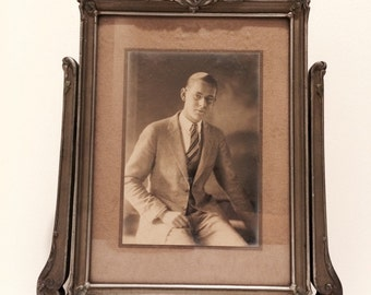 Victorian swing photo frame with young man photo/ portrait