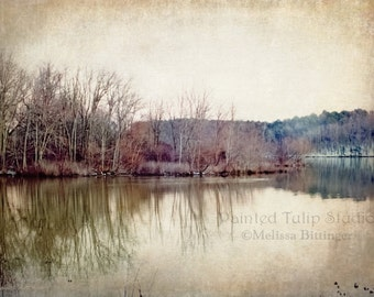 Winter's Lake Zen Peaceful Woodland Landscape Minimal Color Rustic Home Decor Fine Art Photography Print or Gallery Canvas Wrap Giclee