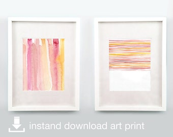 Sherbet Blush Duo - Digital Download Printable Watercolor Art