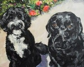 Custom Pet Portrait Oil Painting Pet memorial Birthday Gift 18x24 two dogs