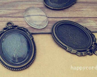 10pcs 18mmx25mm antique bronze Oval tray Base with glass