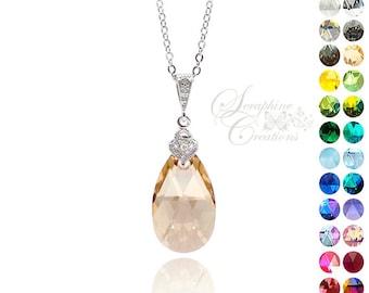 Champagne Gold Necklace Golden Shadow Crystal Swarovski Wedding Jewelry Bridesmaid Gift Bridesmaid Necklace Cubic Zirconia Lt Champagne W02