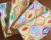 Pink, Yellow, Purple, Blue Cloth Napkins (4) - Flight Patterns Bargello