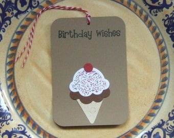 10 Hand Stamped Paper Pieced Ice Cream Cone Birthday Wishes Gift Tags