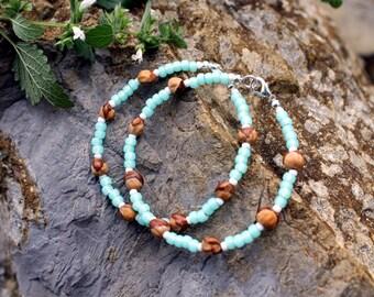2 Ghost Berry Bracelets, Navajo Protection Charm, Sea Glass Blue, Cedar Seed, Ghost Bead