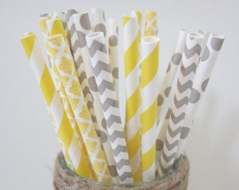 Grey & Yellow Striped Paper Party Drinking Straws ~ Wedding ~ Baby Shower ~ Set of 24 or 48