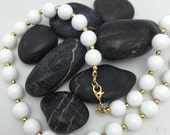 Classic Vintage White snd Gold Beaded Necklace signed Monet Necklace