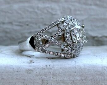 Large Vintage 18K White Gold Diamond Ring Engagement Ring - 2.48ct.