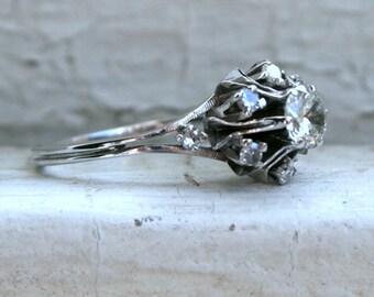 Antique Platinum Diamond Cluster Engagement Ring - 0.77ct.