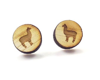Llama Earrings | Laser Cut Jewelry | Hypoallergenic Studs | Wood Earrings
