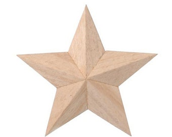 """3D Unfinished 5 Point Wood Stars with Hanger, 4"""", Set of 3 - Ready to Decorate, Barn Star Style"""