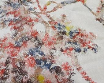Vintage KIMONO Gray Silk Fabric scrap