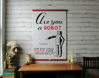 Vintage Robot Pull Down Chart Reproduction with Canvas Print and Oak Wood Poster and Brass Hanger