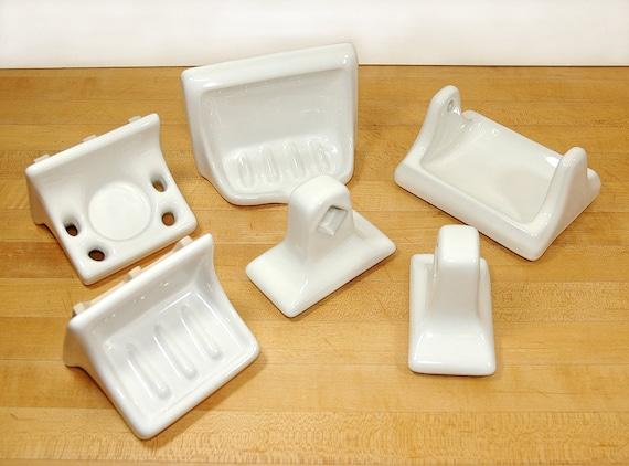 Vintage Olmos White Bathroom Accessories Ceramic Porcelain Set