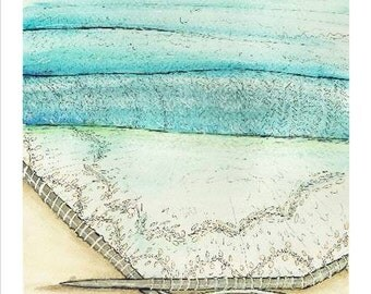 knitted seascape watercolor print