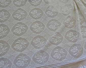 Hand crocheted French bedcover with scalloped hem and rose motifs