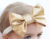 Baby Metallic Gold Bow Headband with Gold Dot Elastic, Baby Gold Headband Bow, Baby Hair Accessories, Modern Baby Headband