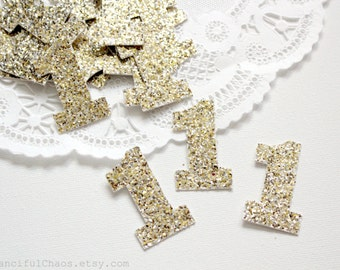 25 Champagne Gold Glitter Number One Die cuts punches cardstock 1.5 inch - 1st birthday, number 1, embellishment, confetti, table decoration