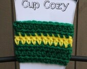 Green and Yellow Team Color Coffee Cozy