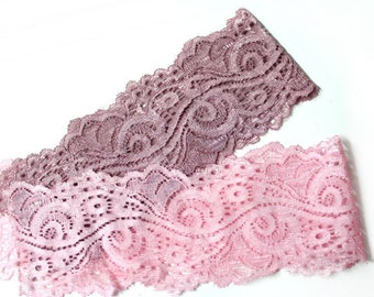 3 YARDS of Stretch Lace Trim Ribbon 2.8'' for Crafts