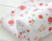 Cotton Knitted Fabrics, Fruit Pattern Apple Cherry Strawberry, Light Color, Soft Stretch Fabric, Cartoon 1/2 Yard (QT487)