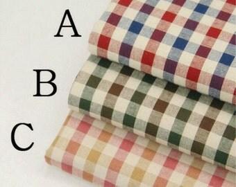 Retro Gingham Cotton Fabric,Gingham,Plain Fabric,Medium thickness,fresh Style,diy,Cotton Fabric--1/2 yard (QT499)
