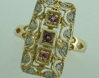 9ct 9k Gold Vintage Tourmaline & Diamond Ring, Vintage Victorian - Also Avail in Various Gems + 14k 18k Yellow Rose White Custom R58