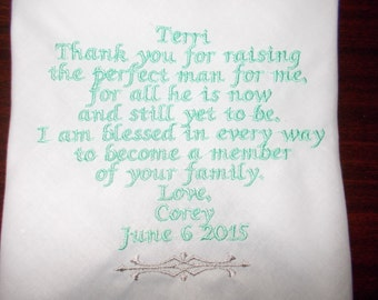 Wedding Handkerchief mom of groom from bride Custom Made