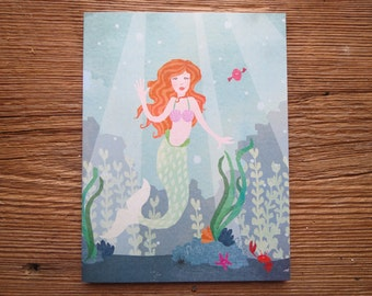 Illustrated Blue Mermaid Ocean Recycled Paper Greeting Card