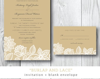 Burlap and Lace Printed Wedding Invitations | Southern Elegant Chic Wedding Invitation Party Suite | Printable or Printed by Darby Cards