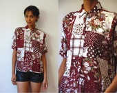 Vtg Mix Print Tapestry Plaid Floral Print Burgundy White SS Button Shirt