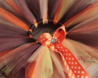 Fall Tutu-Thanksgiving Tutu-Fall Bows-Brown and Orange tutus-Thanksgiving Bows and tutus-Thanksgiving-Fall -Tutus