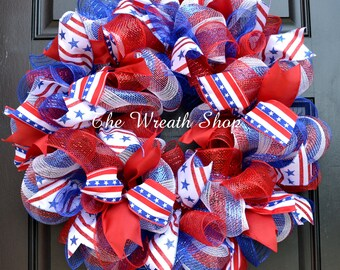 4th of July Mesh Wreath - Patriotic Wreath - Red White and Blue